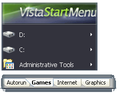 Add any folder, program or hard drive in main menu or bottom tabs.